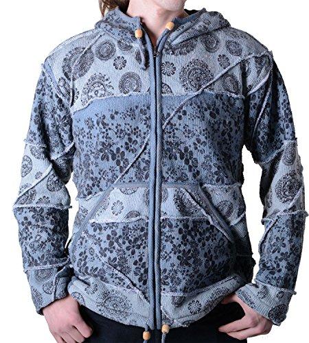 Goa Batik cardigan giacca cappuccio zipfel Hippie per uomo grigio Large