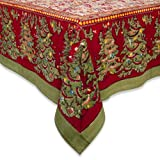 Couleur Nature 71-inches by 106-inches Noel Tablecloth, Red/Green