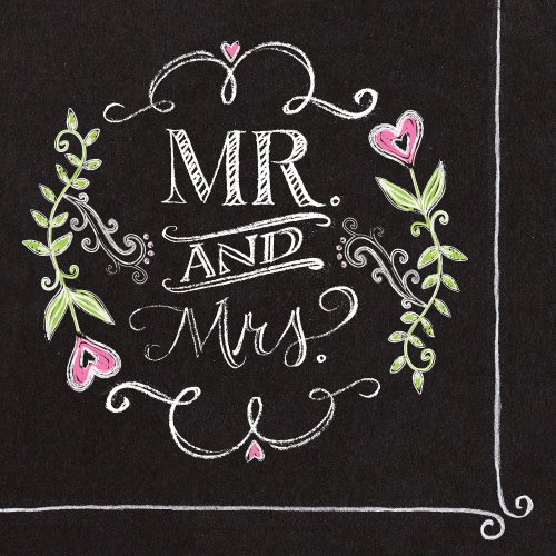 Creative Converting 18 Count Mr. and Mrs. Chalk 2-Ply Paper Luncheon Napkins