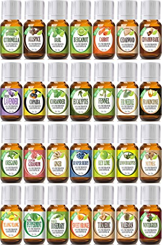 Best Of The Best Portfolio With Mixing Bottles 28 (Organic) 100% Pure Therapeutic Grade Essential Oil Set - 28/10 Ml
