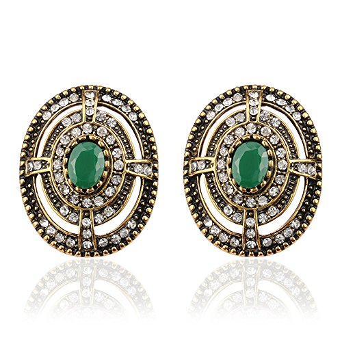 [Lemonstraw Hollow diamond earrings ladies fashion personality retro craft emerald ear clip] (India National Costume For Male Kids)