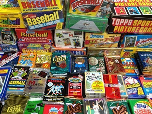 MLB-Baseball-100-Cards-in-Sealed-Wax-Packs-Topps-Donruss-Score-Upper-Deck