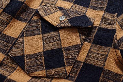 SSLR Men's Gingham Flannel Vintage Long Sleeve Shirt 3