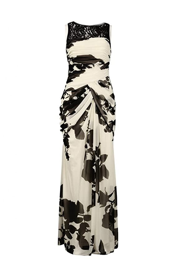 Adrianna Papell Lace Front Floral Print Draped Chiffon Dress