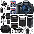 Canon EOS Rebel T5i Digital SLR Camera Body with EF-S 18-135mm IS STM + Polaroid 72mm Wide Angle and 72mm Telephoto Lenses + 32 GB Storage + Tripods + 4 Filters + Deluxe Bag + Extra Accessories
