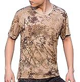 (ガンフリーク) GUN FREAK 迷彩柄 半袖 Tシャツ タクティカル ストレッチ メッシュ サバゲー ( ハイランダー カーキ , 3XL )