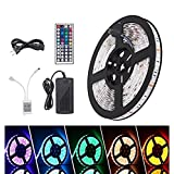 Bitianteam LED Light Strip 16.4ft Waterproof SMD 5050 300 LEDs, 12V DC Flexible Light Strips, Color Changing RGB LED Strip Kit with Power Plug 44Keys Remote Control for Christmas Party Home Decoration