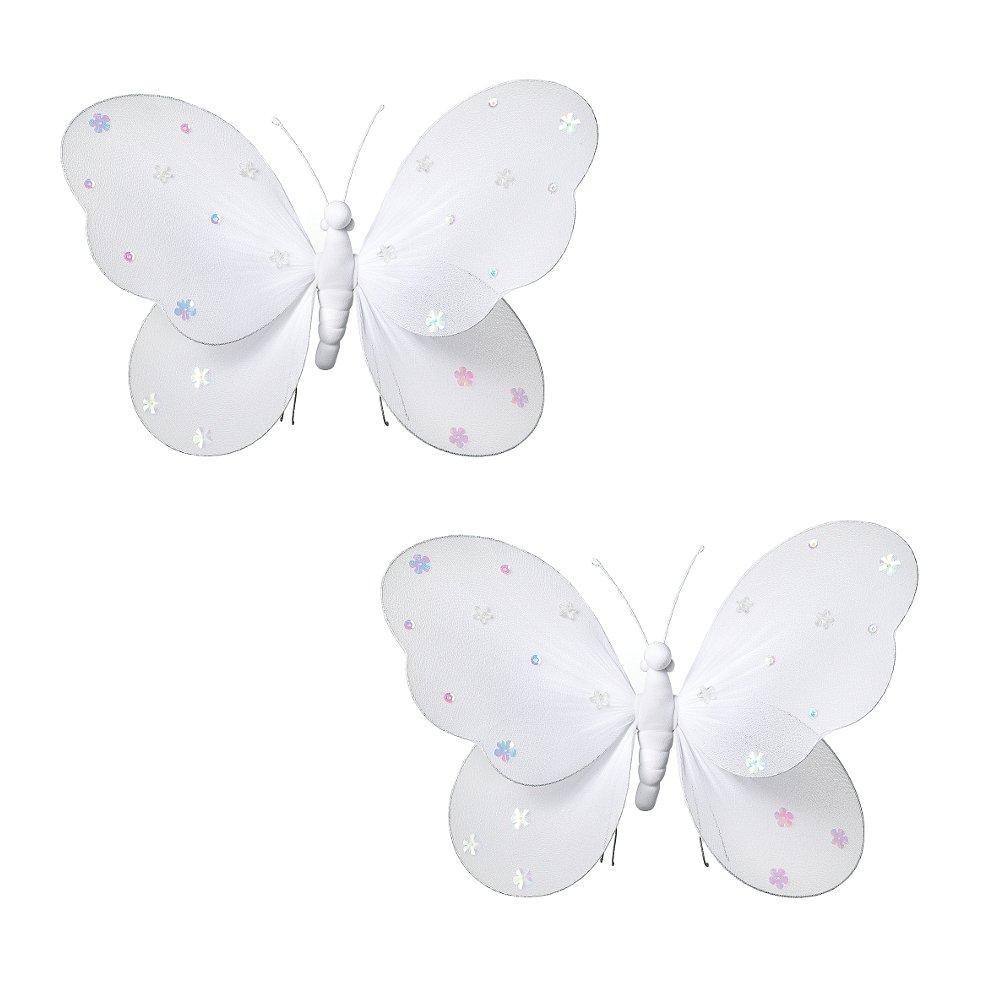 2-teilig Schmetterling für Mädchen-Kinderzimmer Dekoration zum Aufhängen, Schmetterling-Wanddeko für Geburtstag, Babyparty oder Hochzeit, Größe MEDIUM WEISS günstig