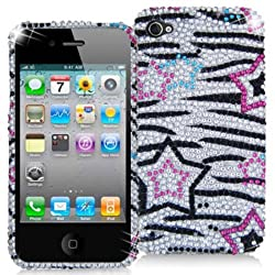 DECORO FDIP4IM706 Premium Full Diamond Protector Case for Apple iPhone 4/4S - 1 Pack - Retail Packaging - Stars on Zebra