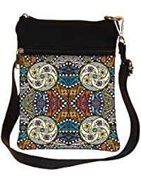 Snoogg Abstract Multicolor Design Cross Body Tote Bag / Shoulder Sling Carry Bag