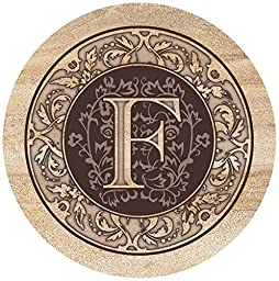 Thirstystone Drink Coaster Set, Monogrammed Letter F