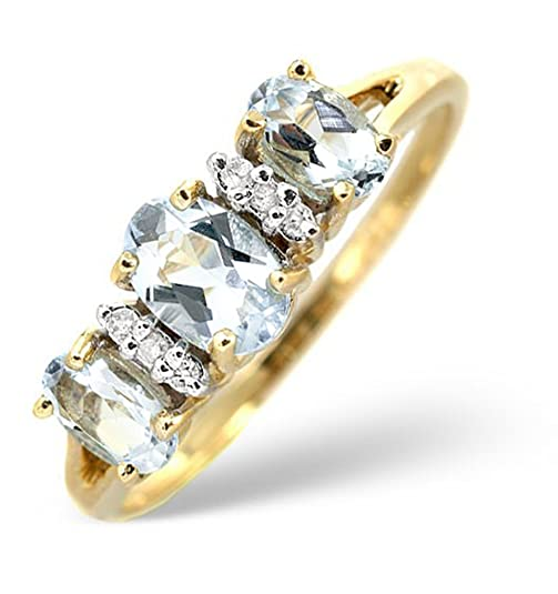 TheDiamondStore | Ring - Oval Aquamarine & Diamond - 9K Yellow Gold