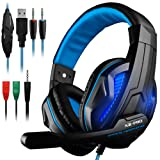 DLAND 3.5mm Wired Noise Isolation Gaming Headphones with Mic,LED Light for Tablet PC, Cellphone, PS4 and New Xbox. - Volume Control, Bass Stereo(Black & Blue) (Color: Black)