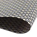 Placemats, Grid Design PVC Insulation Heat Stain Resistant anti-skid eat mats, Use Both Side in Dining Room for Kitchen table(grey+gold)