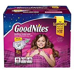 Goodnites Bedtime Underwear Girls, Size L-XL, 44 CT