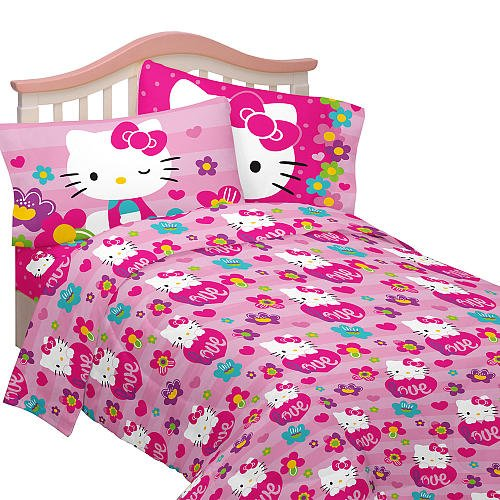 Hello-Kitty-Garden-of-Love-Twin-Sheet-Set-by-Franco-Mfg