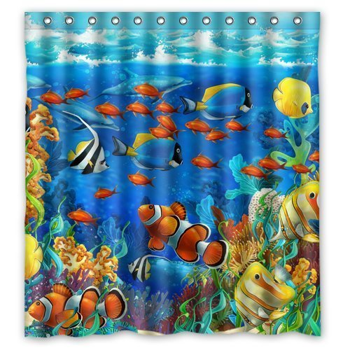 Winterby Custom Blue Ocean Tropical Fish Coral Undersea World Waterproof Fabric Bathroom Shower Curtain 66