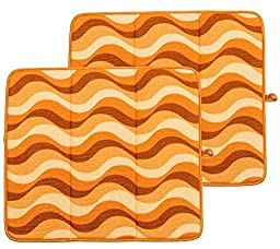 Campanelli\'s 2-Piece Premium Microfiber Drying Mats with Hanging Loop - Gently Dry your Dishes and Delicates. Highly Absorbent, Foldable, and Machine Washable. As Seen On QVC. (Desert Sunset)