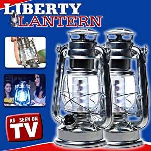 2-Pack Liberty Lantern Vintage Flashlight Olde Fashion Modern Light Brooklyn Lantern LED Light Camping Flashlight Evening Port Nights Railroad Indoor Outdoor Lights Silver Metal Nostalgic As Seen On TV