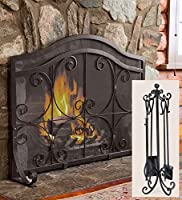Large Crest Fireplace Screen With Doors ...
