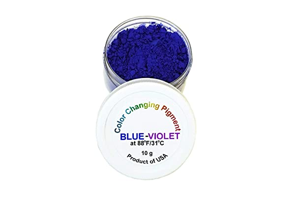 Temperature Activated Thermochromic Bi-Color Powder Pigment Blue to Violet Changing at 88F/31C (Color: Blue-Violet 88F/31C)