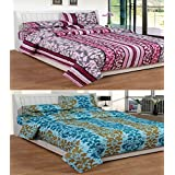 Super India Superior Quality Cotton Double Bed Sheet Combo Pack Of 2 With 4 Pillow Covers - BS235