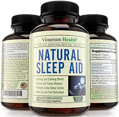 Natural Sleep Aid Supplement by Vimerson Health. Premium Quality Sleeping Pills with Melatonin, Chamomile, Vitamin B6, L-Tryptophan, Valerian, Ashwaganda, L-Taurine, St. John's Wort, Gaba, L-Theanine
