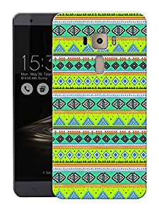 "Green Aztec Ethnic Print Printed Designer Mobile Back Cover For ""Asus Zenfone 3 Laser"" (3D, Matte, Premium Quality Snap On Case)"
