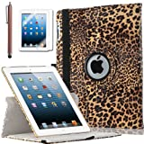 ULAK Premium Patterned PU Leather 360 Degree Rotating Smart Stand Case Cover for Apple iPad 2 iPad 3 iPad 4 New iPad with Screen Protector Stylus and Auto Wake/Sleep Function (Brown Leopard Skin)