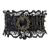 Unique Gothic Inspired Victorian Style Black Lace Bracelet with Black Stone