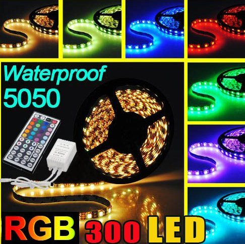 16.4ft 5m Waterproof Flexible Strip 300leds Color Changing RGB Smd5050 LED Light Strip Kit RGB +12v 5a Power Supply +44key Remote