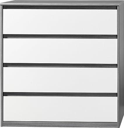 CS Schmalmöbel 75.012.074/22 Grifflose Kommode Soft Plus Smart Typ 22, 45 x 106 x 110 cm, silbereiche/weiß