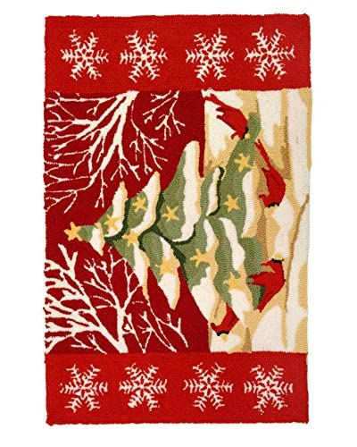 Homefires Rugs Christmas Tree In White Forest, Red, 22″ x 34″