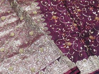 Purple Embroidered Wedding Sari Bollywood Designer Zari Silk India Saree Fabric