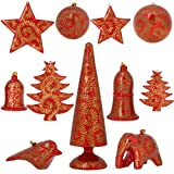 Red Paper Mache Ornaments Diwali Decor Set of 11 Items