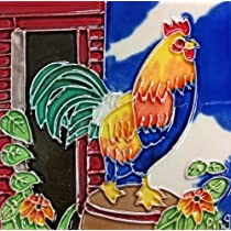 Continental Art Center SD-028 4 by 4-Inch Rooster No.2 Ceramic Art Tile