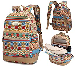 Kinmac Bohemian Pattern Laptop Backpack with Massage Cushion Straps for Laptop up to 15.6 Inch and Macbook Pro 15 Travel Backpack for Men and Women Student Outdoor Backpack