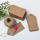 G2PLUS® 100 PCS Kraft Paper Gift Tags Christmas Gift Tags with String Wedding Brown Rectangle Kraft Hang Tags Bonbonniere Favor Gift Tags with Jute Twine 30 Meters Long for Crafts & Price Tags Labels