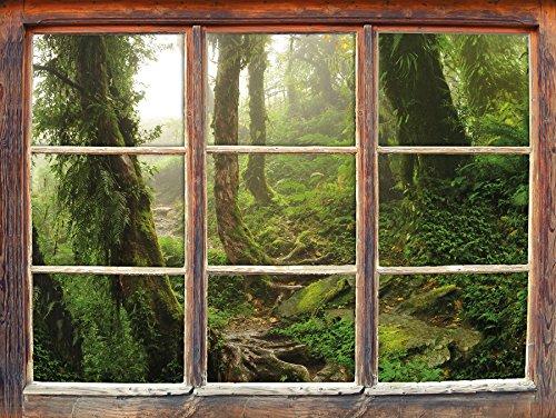 tropischer la selva dschungel fenster 3d wandsticker. Black Bedroom Furniture Sets. Home Design Ideas