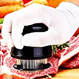 Pro.BQ Meat Tenderizer with Cleaning Brush, 56 Stainless Steel Sharp Needles / Blades / Piercing Spikes - Your tools for Steak, Chicken, Fish, Pork, BBQ & More (Round Sharp)