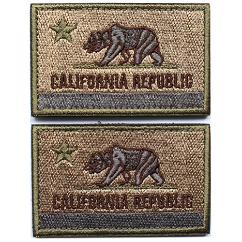 Bundle 2 pieces - American US California state flag California Republic Bear Tactical Morale Patch with Velcro backing Coyote Decorative Embroidered Badge appliques 2