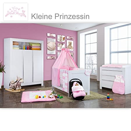 Babyzimmer Felix in weiss 19 tlg. mit 3 turigem Kl + Kleine Prinzessin in Rosa