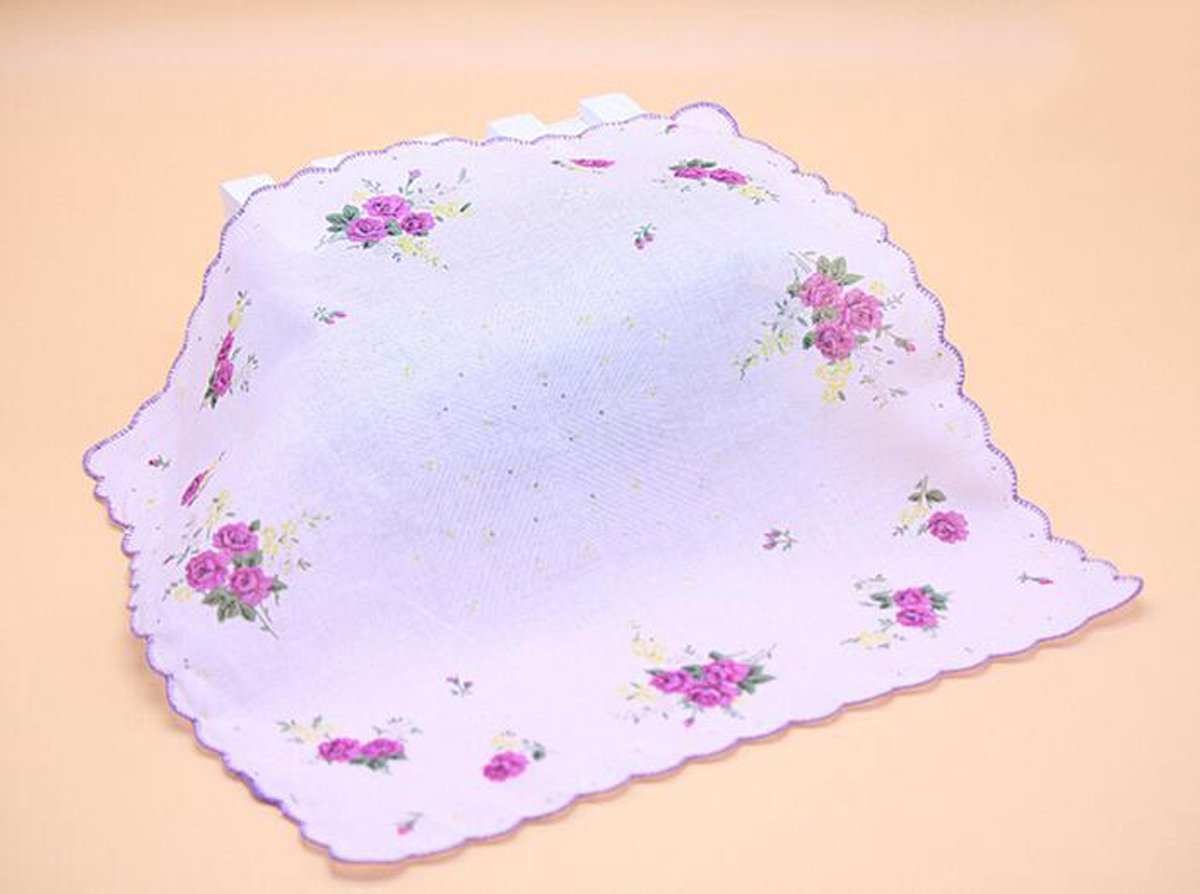 VEBE Womens/Girls Vintage Floral Wedding Party Cotton Handkerchiefs 5