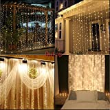 Outop®304led Window Curtain Icicle Lights String Fairy Light Wedding Party Home Garden Decorations 3m*3m (Warm white)