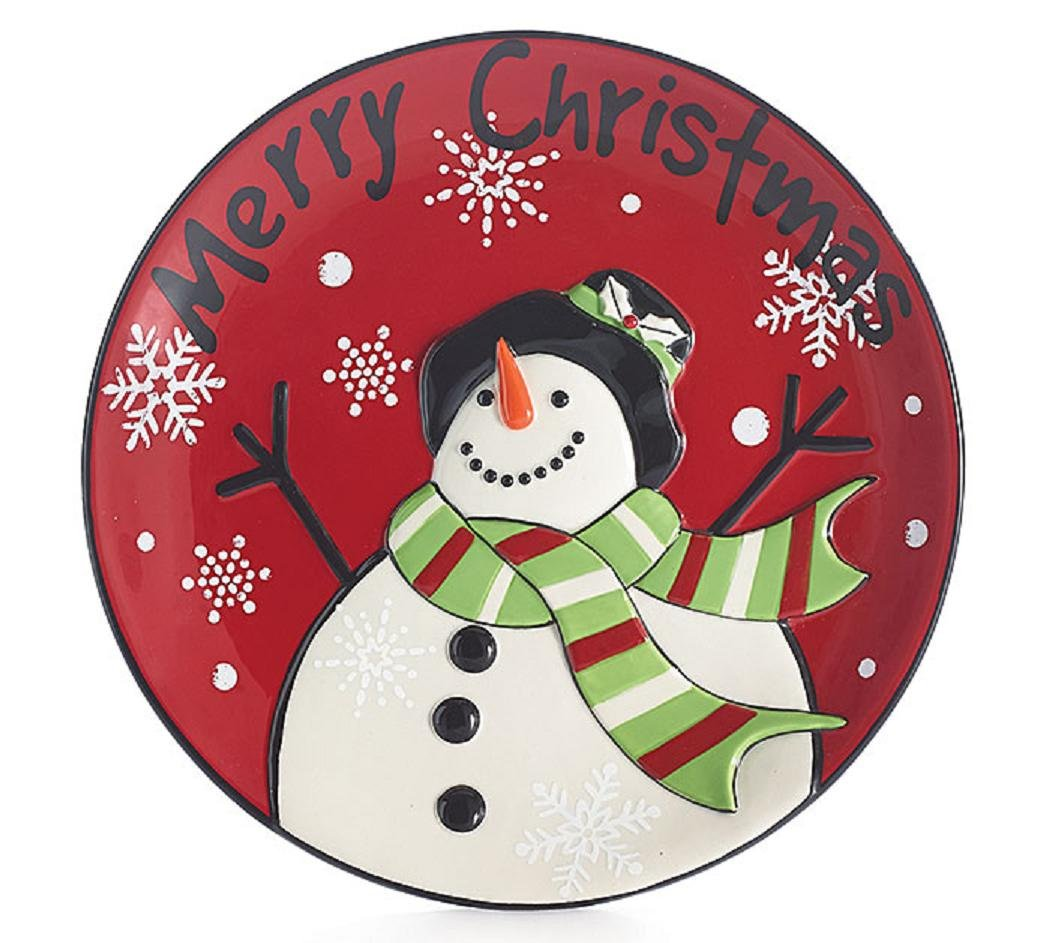 "Christmas Holiday Hand Painted Ceramic Red Round Plate 8.5"" ""Merry ..."