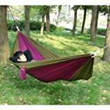 Enjoydeal Portable Parachute Nylon Fabric Travel Camping Hammock For Double Two Person (Brown&Purple)