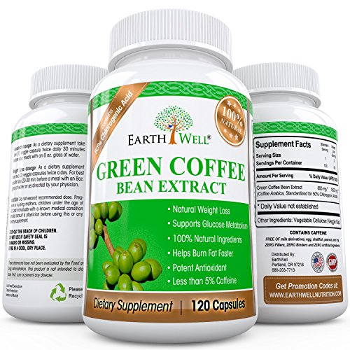 Green Coffee Bean Extract - Best Natural Weight Loss Supplement and Appetite Suppressant - Burn Fat Faster with Premium Quality Dietary Pills - 50%