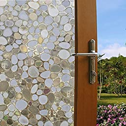Coavas Decorative Window Film Non Adhesive Window Film Static Cling Window Film Cobblestone Window Film No-Glue 3D Window Flim Decorate with Suitable for Home and Office (17.7by78.7 Inch)