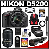 Nikon D5200 Digital SLR Camera & 18-55mm G VR DX AF-S Zoom Lens (Black) with 55-300mm VR + 500mm Telephoto Lens + 32GB Card + Backpack + Tele/Wide Lenses + Monopod + Accessory Kit
