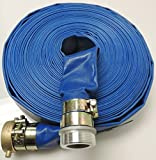 """2"""" x 100' Heavy Duty PVC Lay Flat Water Discharge Hose with Pin Lug Connector"""